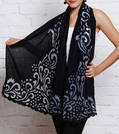 5f941ada03497 Black Cashmere #WoolStole With Floral Net Work #Indianroots Womens Closet, Cashmere  Wool,