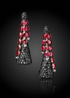 de GRISOGONO | Earrings in white gold and pink gold, black diamonds, white diamonds and rubies.