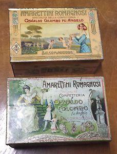 2 SCATOLE DI LATTA ANNI 1920 30 AMARETTINI ROMAGNOSI   eBay