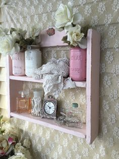 Shabby Chic Plate Rack, Curio Shelf, Chippy distressed Vintage display, Shelf, French shabby Cottage, Shabby Pink Display Rack, SCT by Fannypippin on Etsy https://www.etsy.com/listing/222158760/shabby-chic-plate-rack-curio-shelf