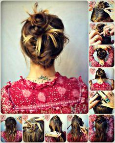 DIY Braided Hair: Hair tips and ideas: DIY hair Friday- A beautiful Hot Mess of hair. Messy Bun Hairstyles, Creative Hairstyles, Pretty Hairstyles, Braided Hairstyles, Hair Romance, Diy Braids, Hair Today, Hair Dos, Hair Hacks