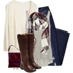 Long cream cardigan, plaid scarf & boots