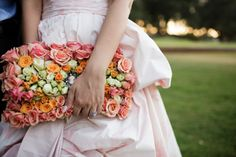 Floral covered bridal clutch - a wonderful substitute for a bouquet! Neutral Wedding Flowers, Bridal Flowers, Floral Wedding, Wedding Bouquets, Wedding Dresses, Chic Wedding, Wedding Styles, Wedding Decor, Dream Wedding