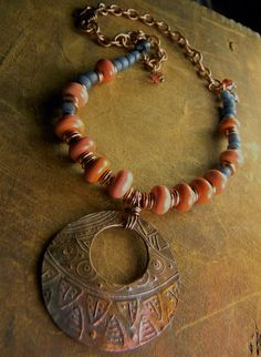Tribal Copper Pendant Necklace Lampwork Coral Pink by ChrysalisToo, $79.00