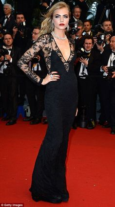 Model entrances: Catwalk stars Cara Delevingne and Georgia May Jagger lead the glamour as they arrive on the red carpet for the 2013 Cannes Film Festival Opening Ceremony on Wednesday night