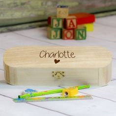 Engraved Wooden Wedding Pencil Box Set - Page Boy Personalized Pencil Boxes, Personalised Gift Shop, Personalized Gifts For Kids, Engraved Wedding Gifts, Wedding Gifts For Bride And Groom, Engraved Gifts, Wooden Pencil Box, Girl Dinosaur, Dinosaur Design