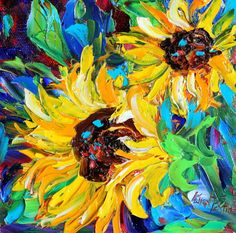 Original oil painting  Summer SunFlowers  impasto by Karensfineart