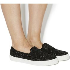 Office Kicker Slip On Shoes (215 HRK) ❤ liked on Polyvore featuring shoes, flats, black silver glitter, women, slip on shoes, office shoes, glitter flat shoes, flat pumps y black and silver shoes