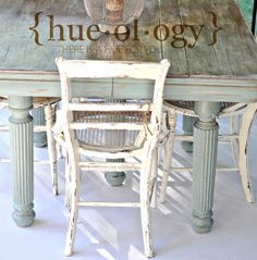 Annie Sloan Chalk Paint. Duck Egg Blue on table base, Old White on chairs! Love this on my patio! So easy with ASCP!!!