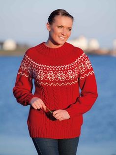 458876d2acb9 Nordic Star and Cables Sweater with Yoke Free Knitting Pattern