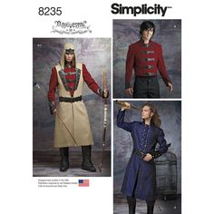This Men's costume pattern from Arkivestry is just what you need to create your favorite cosplay character. Pattern includes jacket and coat, both with contrasting collars, and sleeve cuffs, long belted vest with contrasting lapels, and hood with contrasting front patch. Arkivestry for Simplicity sewing patterns.once again I don't do baby crap cosplay But what a cool coat I can make out of it!
