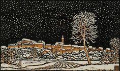 Winter in the Village Carl Theodor Thiemann (German colour woodcut on japon Caspar David Friedrich, Linocut Prints, Art Prints, Ligne Claire, Ludwig, Chiaroscuro, Wood Engraving, Map Art, Illustrations Posters