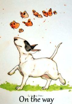 Bull Terrier art. Illustration by the Swedish artist Lisa Thomasdotter-Carlstedt aka Lisa Krutrut