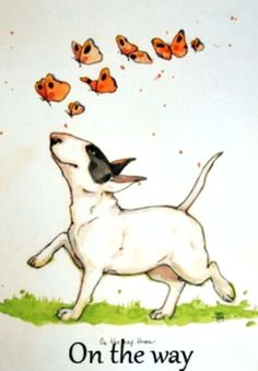 Bull Terrier Art by Lisa Krutrut
