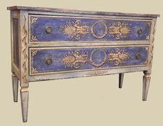 """45-656    Louis XVI Painted Commode  made in Italy  53""""w x 20""""d x 36""""h  $ 4,500"""
