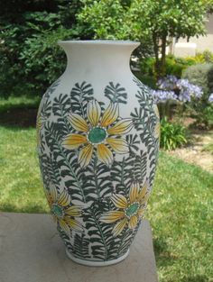 VINTAGE YELLOW FLORAL VASE / PURCHASED FROM ESTATE SALE