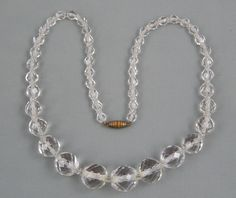 """Vintage Art Deco Era Gradauted Faceted Clear Ice Glass Crystal Bead Necklace 18"""""""