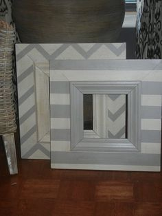 Distressed handmade picture frame  Painted wide stripe by Accent2, $70.00