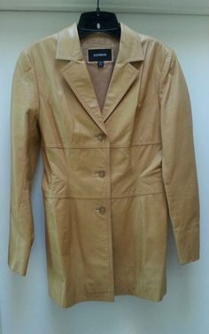 Express Mustard Leather Jacket Size 5/6 Long Sleeve 3 Button Closure #Express #BasicJacket