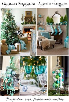 Christmas Inspiration- Turquoise & Evergreen www.frostedevents.com  Aqua blue and green decorations, Christmas tree ideas  #christmas #holiday #decorate   christmas decorations