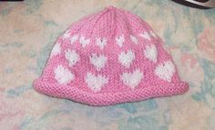 Free Knit Pattern - I Love You Hearts Hat