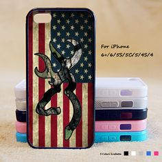 Browning Deer Camo American Flag Phone Case For iPhone 6 Plus For iPhone 6 For iPhone 5/5S For iPhone 4/4S For iPhone 5C-5 Colors Available