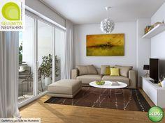 Wohnzimmer Illustration - Neue Mitte Neufahrn #NeueMitteNeufahrn #Illustration #Visualisierung #Architektur #Neubau #Neubauprojekt #Eigentumswohnungen #Wohnzimmer #Wohnidee #Dekoration #Neufahrn #München