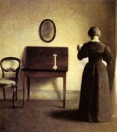 Vilhelm Hammershoi - Femme lisant dans un intérieur