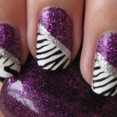 purple and zebra nails | Purple + glitter + zebra nails | nails