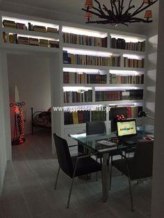 Βιβλιοθήκη με γυψοσανίδα σε οικία στην Νέα Ιωνία. Bookcase, Shelves, Home Decor, Shelving, Decoration Home, Room Decor, Book Shelves, Shelving Units, Home Interior Design