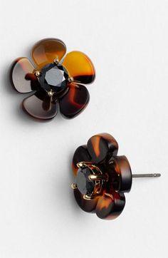 Tory Burch 'Flora' Stud Earrings Tortoise Multi/ Gold