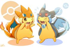 Pokemon | Pikachus dressed as Charizard X and Charizard Y