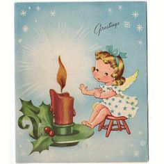 Vintage 1940s Christmas Card Angel Warming Hands over a Lit Candle Flame