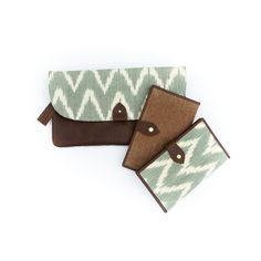 6d9454b67 The Opportunity Collection Leather Clutch in Sage Green + Travel Wallet in  Brown and Sage Green. Ethical ClothingEthical FashionFair Trade ...