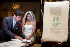 """Double Happiness Ketubah by Michelle """"Shell"""" Rummel....Jewish Ketubah with Asian, Chinese Influences {Tonya Malay Photography} - mazelmoments.com"""