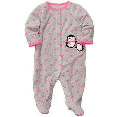 """Carter's Girls Penguin Polka Dot Print Embroidered Microfleece Footie with Applique - Carters - Babies """"R"""" Us"""