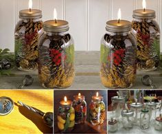 Kreative Ideen - DIY Einmachglas Öl Kerzen The Effective Pictures We Offer You About DIY Candles wedding favors A quality picture can tell you many things. You can find the most beautiful pictures tha Pot Mason Diy, Mason Jar Candles, Mason Jar Crafts, Candle Scent Oil, Oil Candles, Deco Table Noel, Candle Containers, Scented Oils, Idee Diy