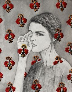 embroidered drawing by izziyana suhaimi
