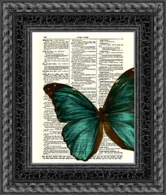 Emerald Butterfly Printed On 115 Year Old Dictionary Page, Blue Green Butterfly, Upcycled Art, Wall Decor, Antique Wall Hanging, Art Print
