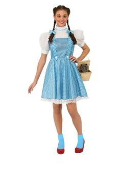 Description Be off to see the Wizard in this classic Dorothy Costume from the Wizard of Oz! Our Wizard of Oz Dorothy Costume features Dorothy's signature blue and white gingham dress with white lace trim. Includes: Dress and Hair bows Size: STD Wizard Of Oz Dorothy Costume, Dorothy Halloween Costume, Halloween Costumes For Teens, Halloween Dress, Adult Costumes, Costumes For Women, Adult Halloween, Wizard Oz, Disney Costumes
