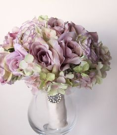 Bridal Bouquet, Vintage Wedding, Lilac Roses Green Lilac Hydrangea, English Garden