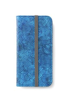 Turquoise blue swirls doodles iPhone Wallet by @savousepate on @redbubble #iphonewallet #phonewallet #doodles #zentangle #abstract #modern #graphic #geometric #blue #royalblue