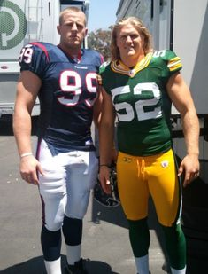 JJ Watt, Houston Texans and Clay Matthews, Packers. To much sexy!