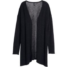 H&M Knitted cardigan (16 CAD) ❤ liked on Polyvore featuring tops, cardigans, outerwear, jackets, black, rayon cardigan, black top, black cardigan, long cardigan and rayon tops