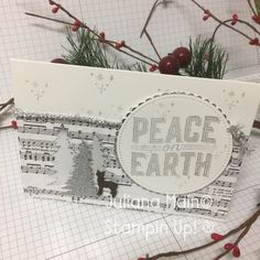 Carols of Christmas Stampin Up Winter Cards, Holiday Cards, Homemade Christmas Cards, Peace On Earth, Christmas Carol, Stampin Up, Catalog, Inspiration, Winter