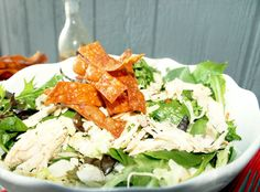 Chinese Salad with Ginger Poached Chicken & Wonton Crisp