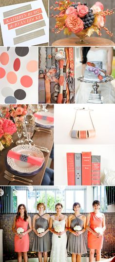 Salmon and Slate Wedding Inspiration Board - LOVE this color combo!! http://www.MajesticStudios.info