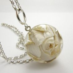 Rose Resin Necklace Floral Resin Pendant by sisicata on Etsy, $90.00