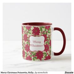 Merry Christmas Poinsettia, Holly, Pine branch