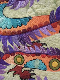 The Quilt with the Dragon Tattoo by Nancy Arsenault.  2014 Tucson Quilt Fiesta, closeup photo by Quilt Inspiration